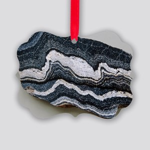 Folded strata in gneiss rock - Picture Ornament