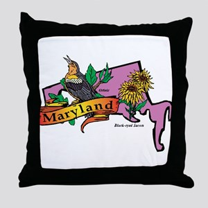 Maryland Map Throw Pillow