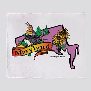 Maryland Map Throw Blanket