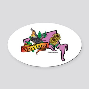 Maryland Map Oval Car Magnet