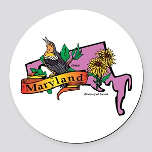 Maryland Map Round Car Magnet