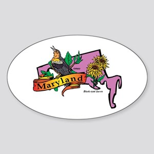 Maryland Map Sticker (Oval)