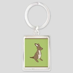 kangaroo (green) Portrait Keychain