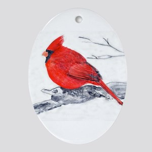 Cardinal Painting Ornament (Oval)