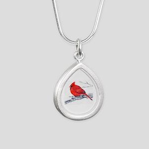 Cardinal Painting Silver Teardrop Necklace