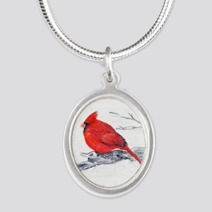 Cardinal Painting Silver Oval Necklace