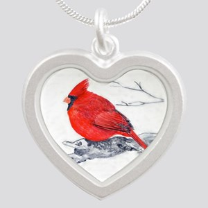 Cardinal Painting Silver Heart Necklace