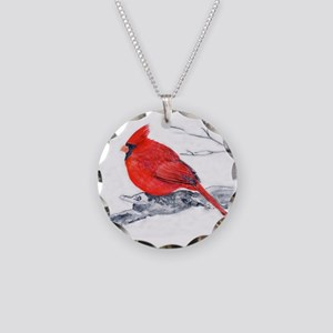 Cardinal Painting Necklace Circle Charm