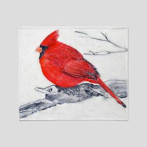 Cardinal Painting Throw Blanket