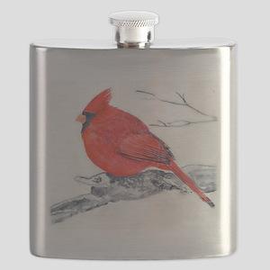 Cardinal Painting Flask