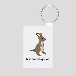 k is for kangaroo Aluminum Photo Keychain