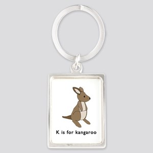 k is for kangaroo Portrait Keychain