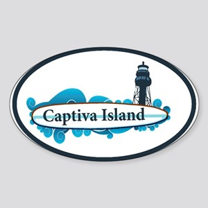 Captiva Island - Surf Design. Sticker (Oval)