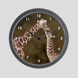 Giraffe Mom Baby Wood Clock Wall Clock