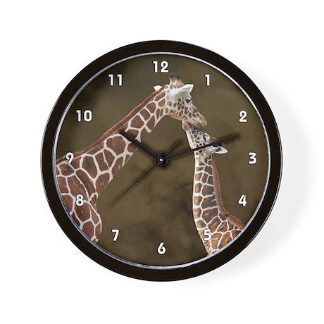 Giraffe Mom Baby Wood Clock Wall Clock