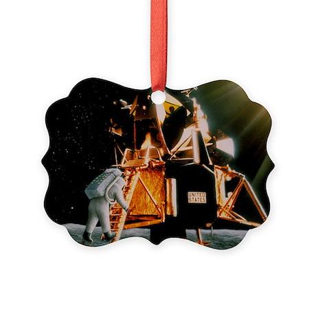 Artwork of Armstrong descending Lunar Module steps