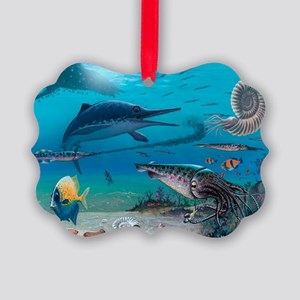 Ichthyosaur and prey - Picture Ornament