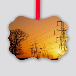 Pylons and power lines at sunset - Picture Ornamen