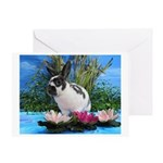 Buttercup Bunny on Lily Pads 2-Greeting Card