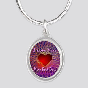 I Love You More Each Day Silver Oval Necklace