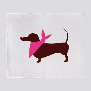 Modern Dachshund Pink Scarf Throw Blanket