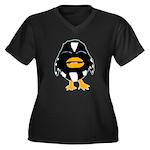 Laughing Penguin 1 Women's Plus Size V-Neck Dark T