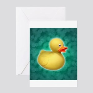 Rubber Duck on Green Bubbles Greeting Card