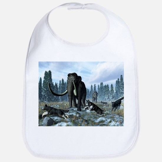 Dire wolves and mammoths, artwork - Bib