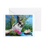 Buttercup Bunny on Lily Pads-1 Greeting Card