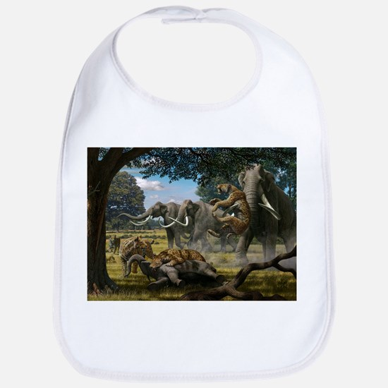 Mammoths and sabre-tooth cats, artwork - Bib