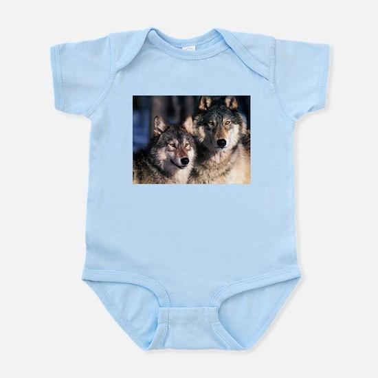two wolf Infant Bodysuit