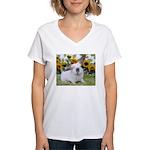 Presto with Sunflowers-1 Women's V-Neck T-Shirt
