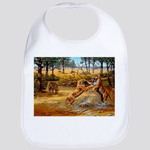 Sabre-toothed cats fighting - Bib