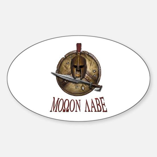 Spartan Skull w/ Sword Molon Labe Sticker (Oval)
