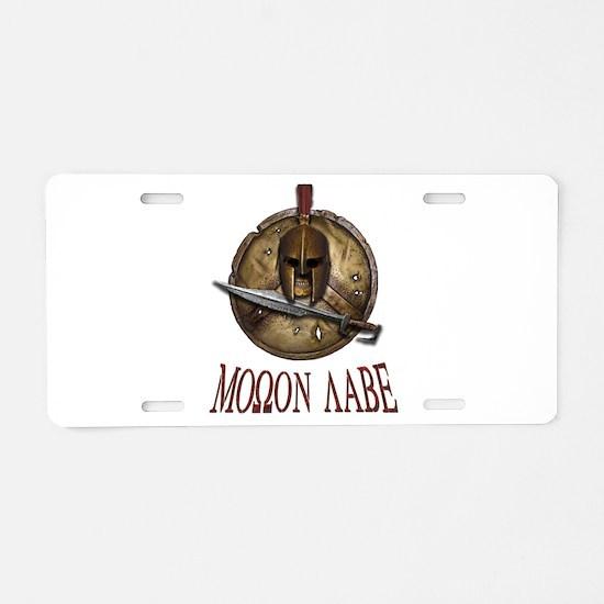 Spartan Skull w/ Sword Molon Labe Aluminum License