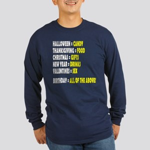 Funny Birthday Long Sleeve Dark T-Shirt