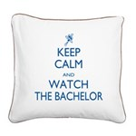 Keep Calm Watch The Bachelor Square Canvas Pillow
