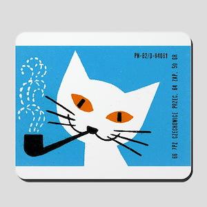1966 Polish Smoking Cat Matchbox Label Mousepad