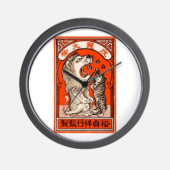 1910 Japanese Lion and Cat Matchbox Label Wall Clo