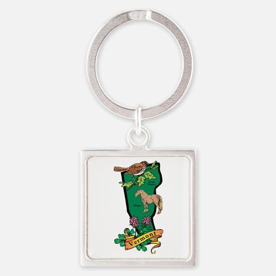 Vermont Map Square Keychain