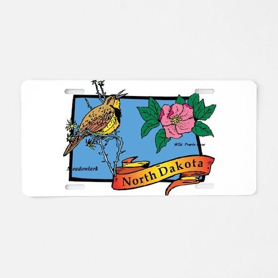 North Dakota Map Aluminum License Plate