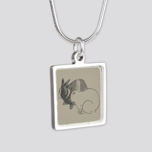 Abstract Rabbits Silver Square Necklace