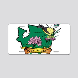 Washington Map Aluminum License Plate