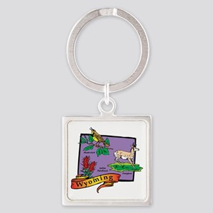 Wyoming Map Square Keychain