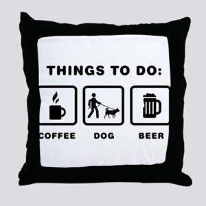 Dog Walking Throw Pillow