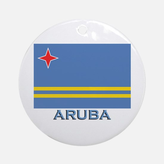Aruba Flag Gear Ornament (Round)