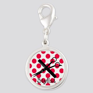 stylist SQUARE RED PENDANT Silver Round Charm