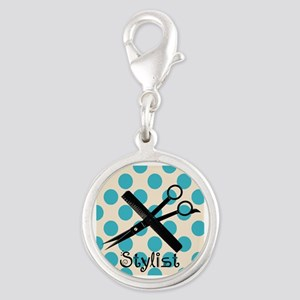 Stylist Square BLUE PENDANT.PNG Silver Round Charm