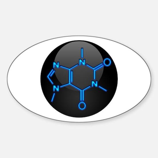 Caffeine Molecule Button Sticker (Oval)
