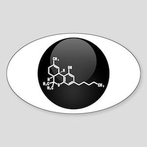 THC molecule button Sticker (Oval)